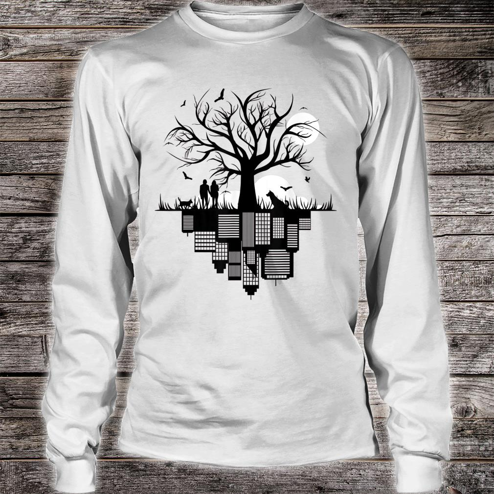 Tree Buildings Dog Cat Birds Moon in drawing City Shirt long sleeved