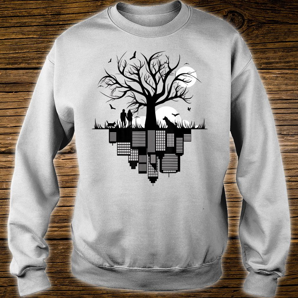 Tree Buildings Dog Cat Birds Moon in drawing City Shirt sweater