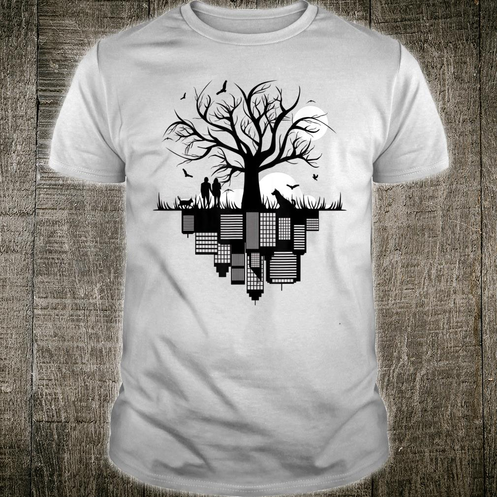 Tree Buildings Dog Cat Birds Moon in drawing City Shirt