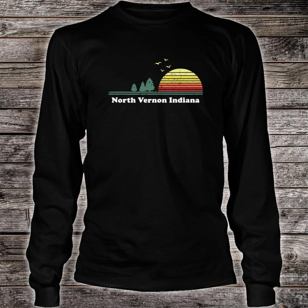 Vintage North Vernon, Indiana Sunset Souvenir Print Shirt long sleeved