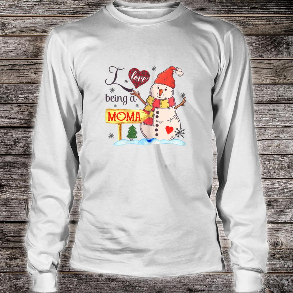 Womens I Love Being Moma Snowman Family Christmas Shirt long sleeved