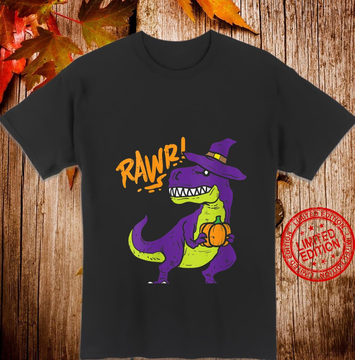 Womens Rawr Trex Dinosaur Witch Hat Halloween 2020 Boys Shirt