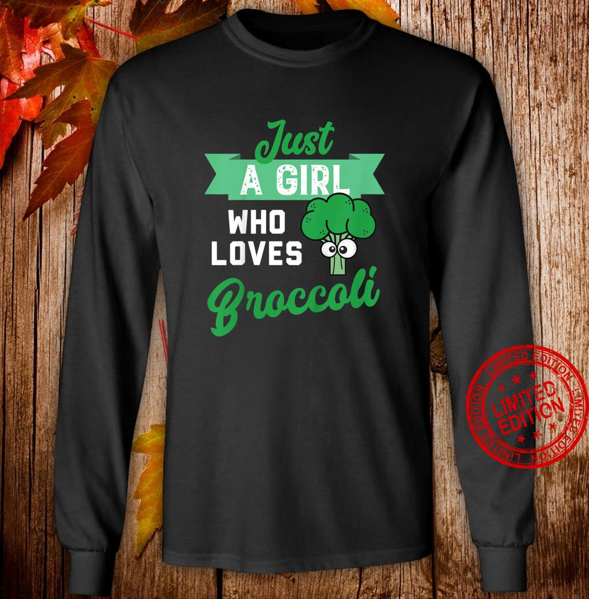 Youth Just a Girl Who Likes Broccoli Design fors of Broccoli Shirt long sleeved